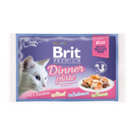 Brit Premium Cat Delicate Fillets in Jelly with Dinner Plate 4x850 g