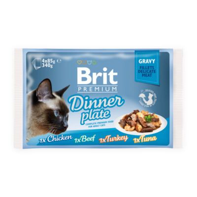 Brit Premium Cat Fillets in Gravy Dinner Plate 4x85 g | Kutyatáp24